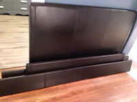 Dark Brown Leather Queen Bed Frame