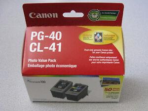 Cartouches neuves Canon PG-40 noir CL-41 couleur +50papier photo