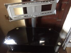 Glass tv table with tv bracket