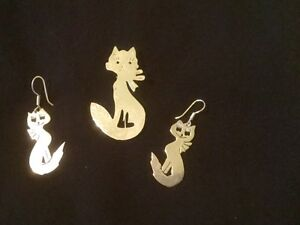 Silver Cat Earrings and Pin -stamped 925