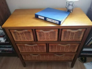 Price correction: Wicker and Wood Drawer Unit/Dresser