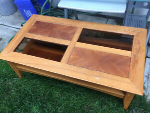 Wood Coffee Table with Two Glass Panels