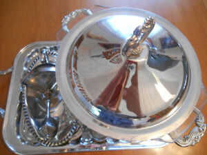 Silverplated viking tray,lamp post candle stick  serving set etc