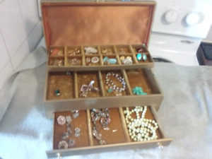 Vintage costume jewelry with boxes