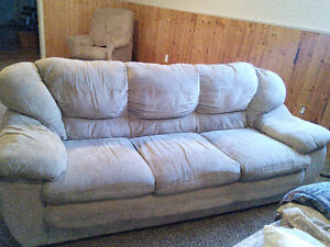 Microfibre couch, loveseat and recliner