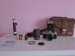 Olympus OM-1 MD 35mm Film Camera w/ 2 Lenses, Flash, Bag, Tripod