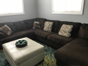 Sectional chenille sofa