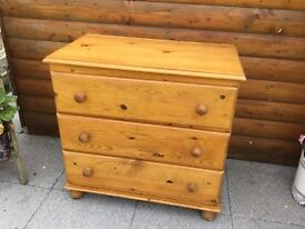 3 PINE CHEST OF DRAWERS