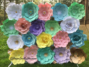Pastel and gold accent Dessert table Paper Flower Backdrop