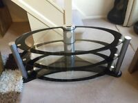 Oval Tv stand black & silver
