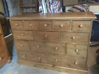 merchant chest solid pine 13 draw 5 + 3 + 3 + 2