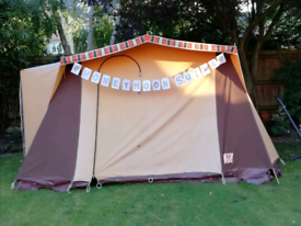 Classic 3 berth canvas frame tent with inner sleeping compartment