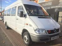 MERCEDES BENZ SPRINTER 411 CDI (2004 54 REG) LONG WHEEL BASE MINIBUS TWIN WHEELS