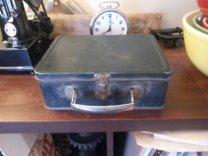 Vintage Black Tin Lunch Box