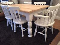 Amazing 5ft Shabby Chic Chunky Farmhouse Pine Table and 6 Lovely Chairs Inc Two Carvers