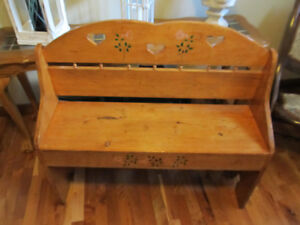 Solid Pine Bench with Backrest
