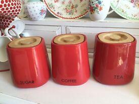 SET OF 3 TEA COFFE AND SUGAR JARS