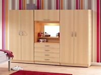 **14-DAY MONEY BACK GUARANTEE**BRAND NEW ASSEMBLED 4 DOOR WARDROBE WITH DRESSER & MIRROR - 5 COLOURS
