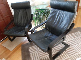 Two IKEA Poang Black Leather Chairs