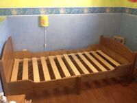 Ikea wooden single bed with mattress