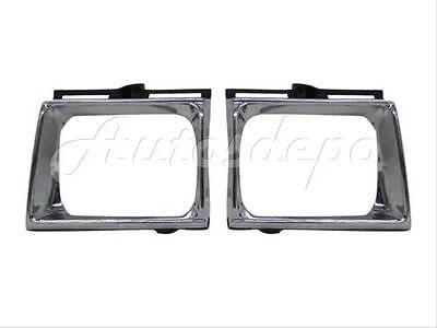Bundle For 89-91 Toyota Pickup 4Wd Headlight Door Bezel Chrome/Black Set=Lh & Rh