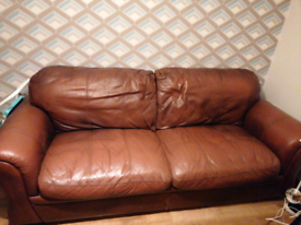 Brown leather 8 foot sofa