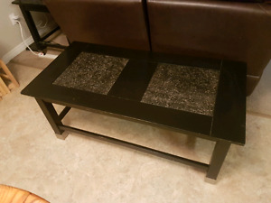 Black coffee table with tile inserts