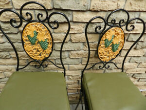 2 Fantastic Filigree Fruit Wrought Iron Folding Patio Barstools