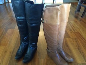 Aldo Leather Boots: Black and Brown (2 Pairs)