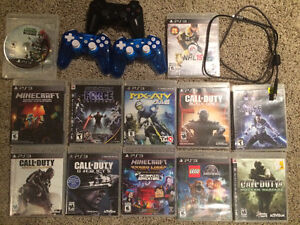 PS3 Slim 500gb, 3 controllers and 12 games
