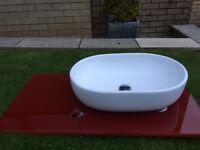 Stunning Ceramic Washbowl and Red Glass Worktop