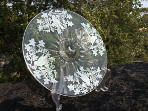 12 inch depression glass desert serving plate w silver overlay