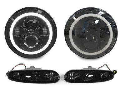 Miata Turn Signal - Full LED Headlight H6024+Smoke Bumper Signal Light For 1990-1997 Mazda Miata MX5