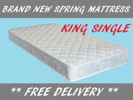 KING SINGLE Size Spring Mattress BRAND NEW and DELIVERED FREE