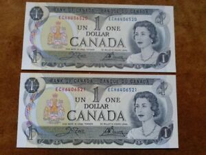 1973 - Two One Dollar Notes in Sequence