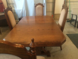 Dining table set with buffet and hutch