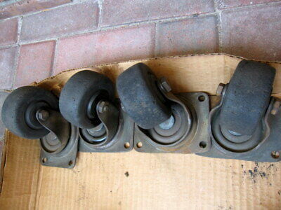 Set Of 4 Vintageantique Steel 3 Ball Bearing Swivel Casters Bassick Base Mount