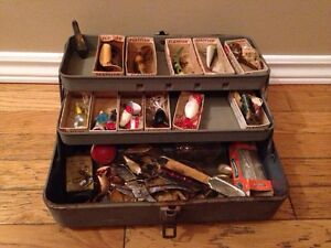 Vintage tackle box and fishing lures