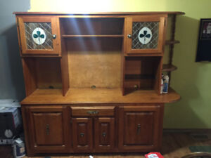 Hardwood Antique Cupboard W/ Stained Glass