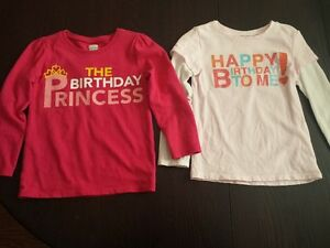 Long sleeved Birthday shirts - size 4, $10 for both shirts