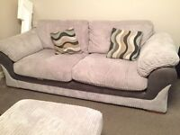 Harvey's light grey 3 seater sofa with storage footstool 1 year old excellent condition REDUCED