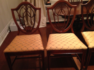 Walnut Dining Room Table, Shield-back chairs and China Cabinet