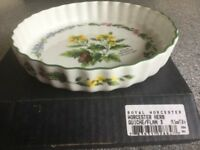 ROYAL WORCESTER HERB FLAN DISH WITH BOX