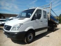 2012 62 MERCEDES-BENZ SPRINTER 313 CDI LWB DOUBLE CAB DROPSIDE TIPPER ALLOY BODY