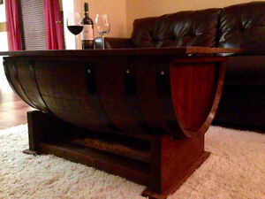 OAK WINE BARREL COFFEE TABLE