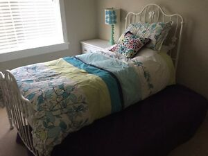 Twin trundle white iron bed