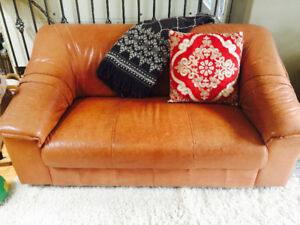 Genuine Leather Loveseat Sofa with 3 Chairs