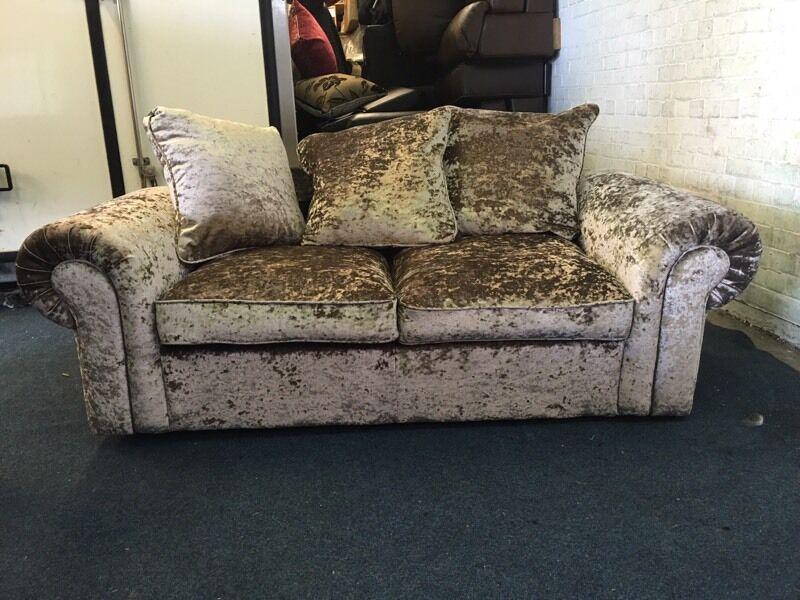 Gold Crushed Velvet Velour 2 Seater Sofa Bed Double