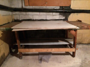 Wood Work Table and two sheet peg boards