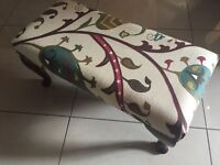 Large Reupholstered Foot Stool in Excellent Condition